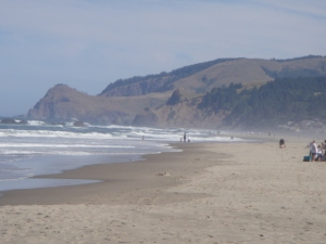 beach at Lincoln City, with Cascade Head