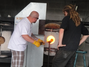 tourist glass blowing in lincoln city